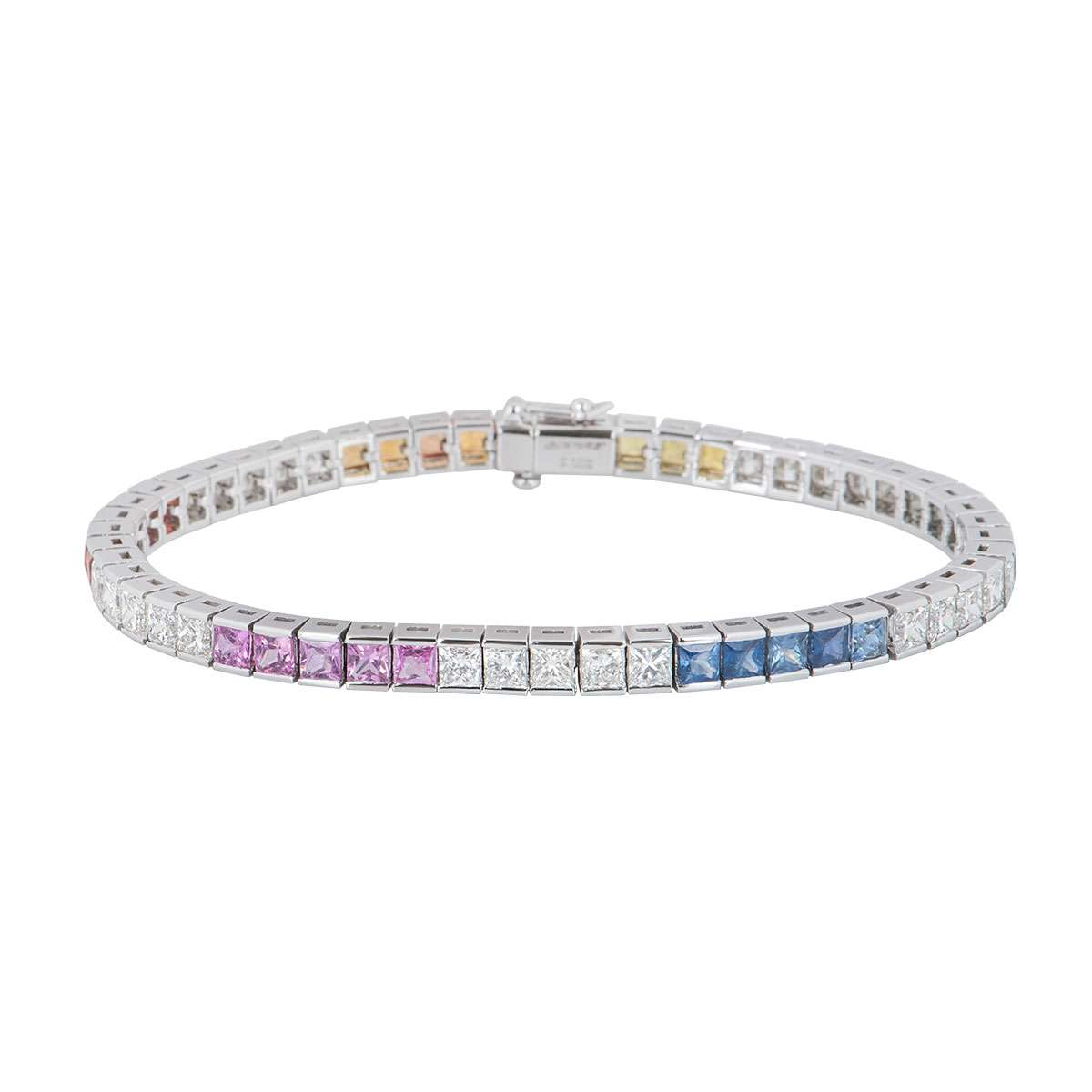 White Gold Diamond And Colour Stone Line Bracelet